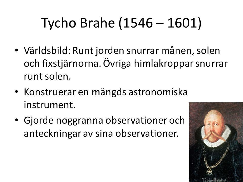 Tycho Brahe (1546 – 1601) Världsbild: Runt jorden snurrar månen, solen och fixstjärnorna. Övriga himlakroppar snurrar runt solen. Konstruerar en mängd
