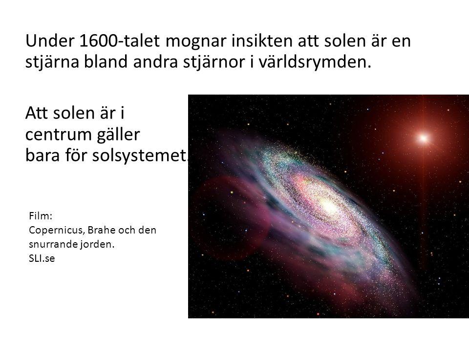 Under 1600-talet mognar insikten att solen är en stjärna bland andra stjärnor i världsrymden. Att solen är i centrum gäller bara för solsystemet. Film