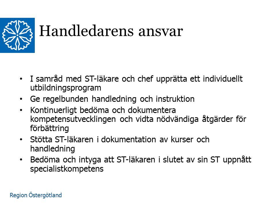 Region Östergötland www.lio.se/studierektorskansliet Handledarens ansvar I samråd med ST-läkare och chef upprätta ett individuellt utbildningsprogram