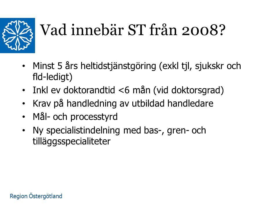 Region Östergötland www.lio.se/studierektorskansliet Vad innebär ST från 2008? Minst 5 års heltidstjänstgöring (exkl tjl, sjukskr och fld-ledigt) Inkl