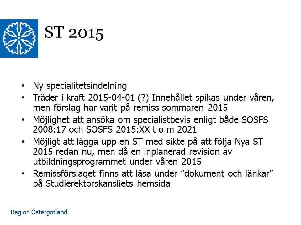 Region Östergötland www.lio.se/studierektorskansliet ST 2015 Ny specialitetsindelning Träder i kraft 2015-04-01 (?) Innehållet spikas under våren, men