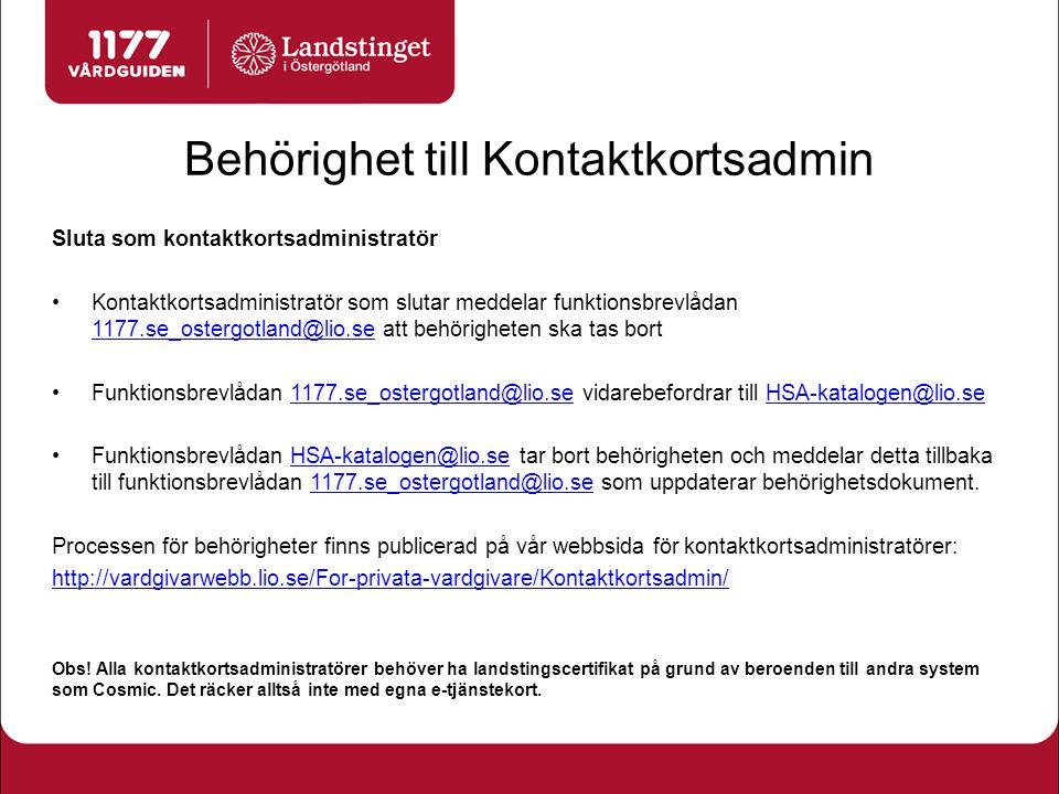 Översiktsbild kontaktkort 1 Huvuddelen av informationen publiceras automatiskt via HSA-katalogen.