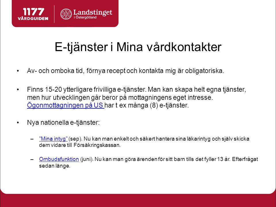 Kännedom och användande Mina vårdkontakter 1,75 miljoner invånare i landet (18%) har ett konto 1 av 4 östgötar har ett konto, ca 110 000 invånare (25%) Drygt 11 500 ärenden/mån genomförs i Mina vårdkontakter i Östergötland Mål 2014: 12 000 ärenden/mån Mål 2017 (förslag): 17 000 ärenden/mån