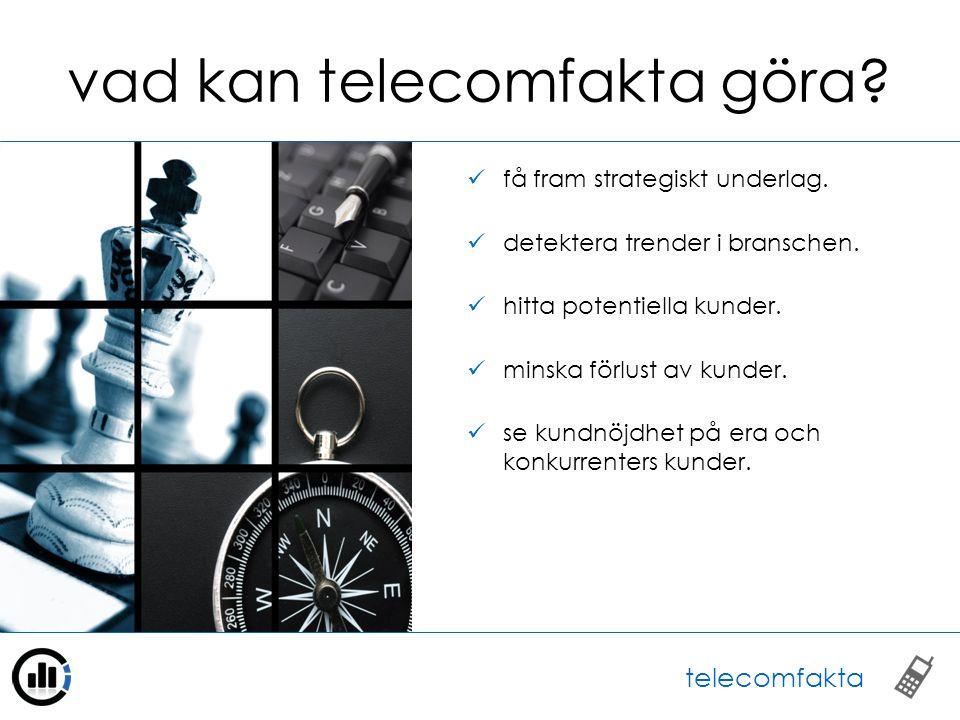 funktioner i telecomfakta omfattande filter för att specificera frågeställningen.