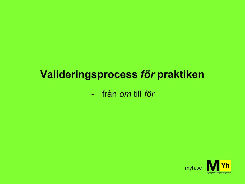 myh.se Valideringsprocess för praktiken -från om till för