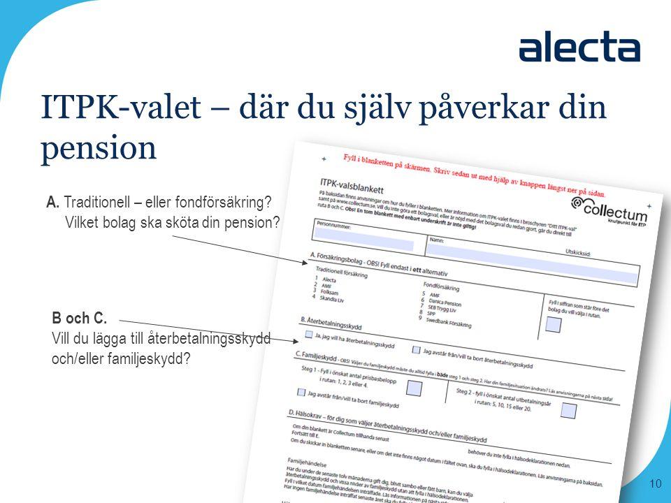 ITPK-valet – där du själv påverkar din pension A. Traditionell – eller fondförsäkring? Vilket bolag ska sköta din pension? B och C. Vill du lägga till