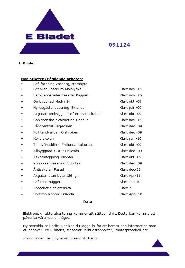 E-Bladet 091124 Nya arbeten/Pågående arbeten: Brf-förening Varberg, stambyte Brf Allén, badrum MölnlyckeKlart nov -09 Familjebostäder fasader Klippan.Klart nov -09 Ombyggnad Hedin BilKlart okt -09 Hyresgästanpassning EklandaKlart juli -09 Axgatan ombyggnad efter brandskadorKlart okt -09 Sahlgrenska evakuering HöghusKlart nov -09 Vårdcentral LärjedalenKlart dec -09 Folktandvården OlskrokenKlart dec -09 Kolla skolanKlart jan -10 Tandvårdsklinik Frölunda kulturhusKlart okt -09 Tillbyggnad COOP FrillesåsKlart dec -09 Takomläggning KlippanKlart okt -09 Kontorsanpassning SportexKlart dec -09 Ånässkolan FasadKlart dec-09 Axgatan stambyte 136 lghKlart Apr-11 Brf-masthuggetKlart Jan-10 Apoteket SahlgrenskaKlart .