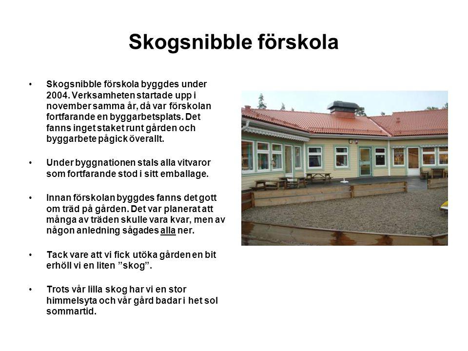 Skogsnibble förskola Skogsnibble förskola byggdes under 2004.