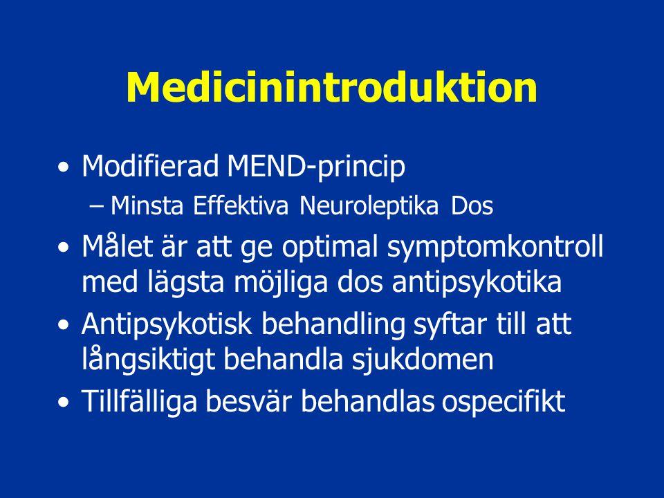Medicinintroduktion Modifierad MEND-princip –Minsta Effektiva Neuroleptika Dos Målet är att ge optimal symptomkontroll med lägsta möjliga dos antipsyk