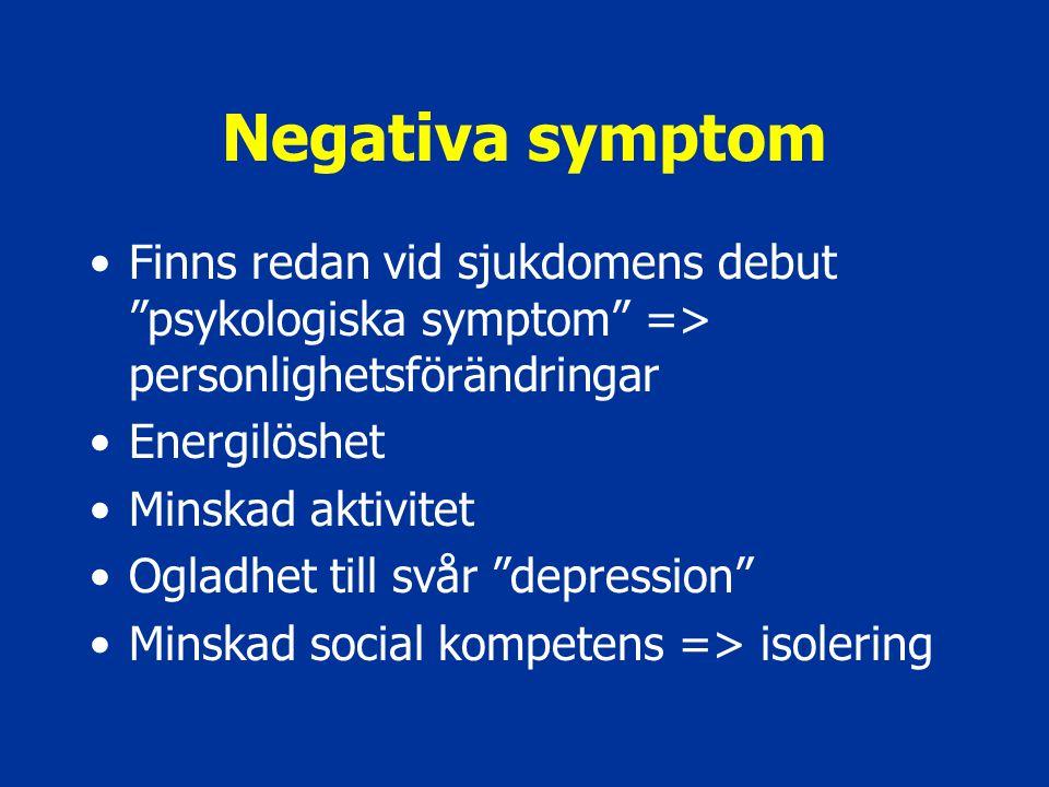 """Negativa symptom Finns redan vid sjukdomens debut """"psykologiska symptom"""" => personlighetsförändringar Energilöshet Minskad aktivitet Ogladhet till svå"""