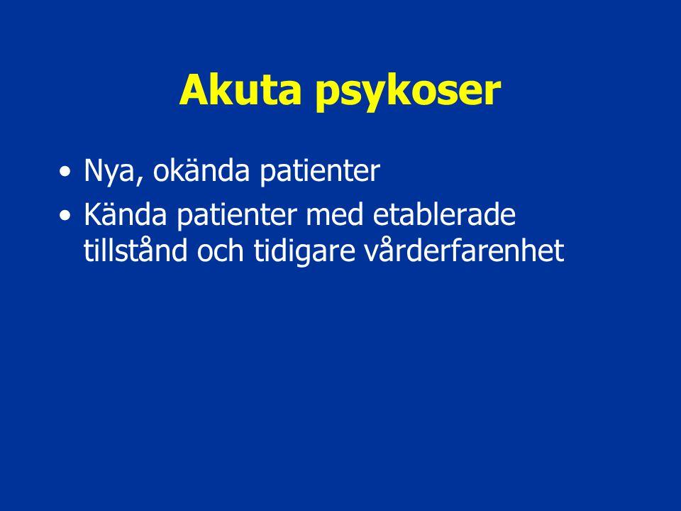 Akuta psykoser Nya, okända patienter Kända patienter med etablerade tillstånd och tidigare vårderfarenhet