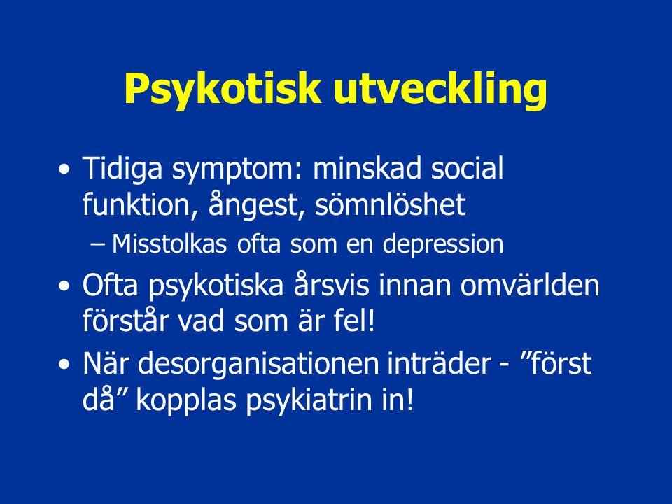 Psykotisk utveckling Tidiga symptom: minskad social funktion, ångest, sömnlöshet –Misstolkas ofta som en depression Ofta psykotiska årsvis innan omvär