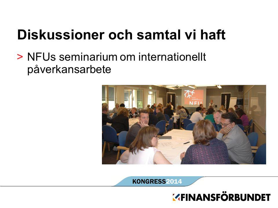 Diskussioner och samtal vi haft >NFUs seminarium om internationellt påverkansarbete