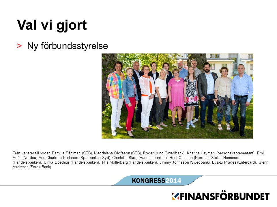 Val vi gjort >Ny förbundsstyrelse Från vänster till höger: Pernilla Påhlman (SEB), Magdalena Olofsson (SEB), Roger Ljung (Swedbank), Kristina Heyman (