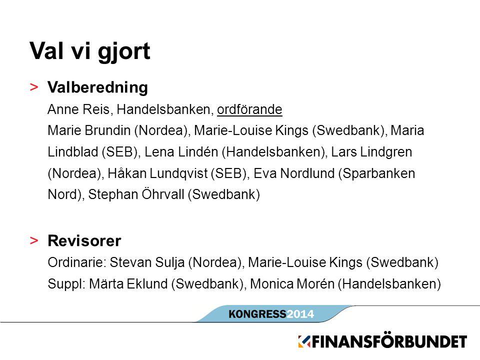 Val vi gjort >Valberedning Anne Reis, Handelsbanken, ordförande Marie Brundin (Nordea), Marie-Louise Kings (Swedbank), Maria Lindblad (SEB), Lena Lind