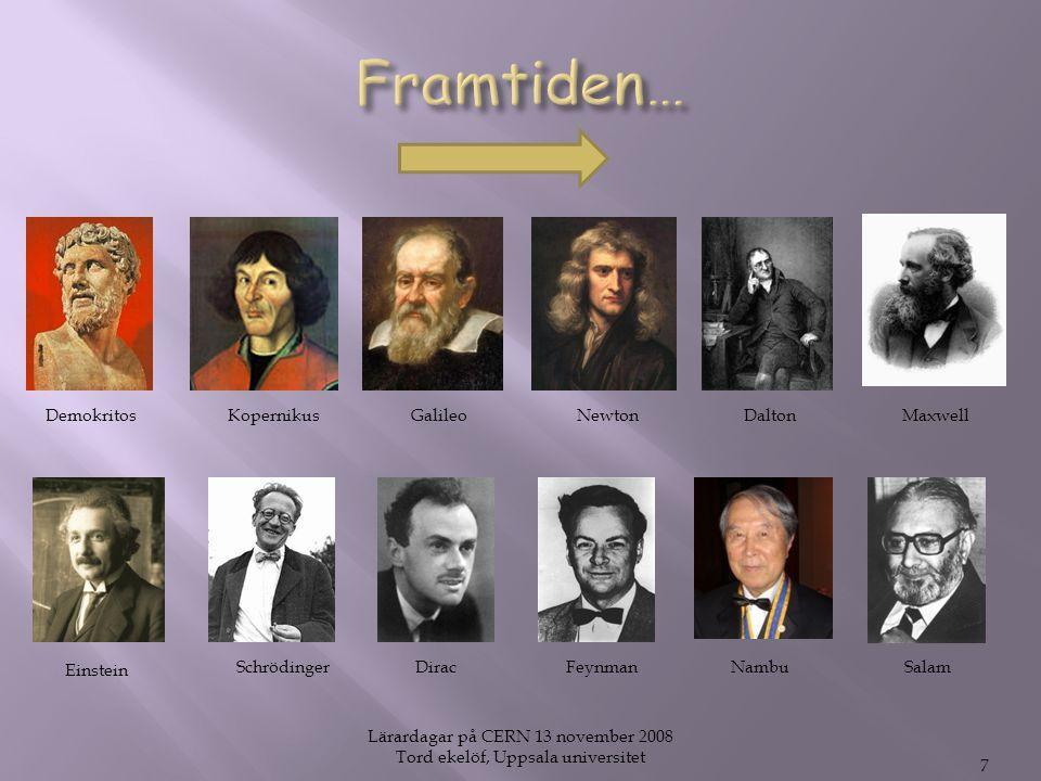 Lärardagar på CERN 13 november 2008 Tord ekelöf, Uppsala universitet 7 DemokritosKopernikusGalileoMaxwellNewton Einstein SchrödingerSalamNambuDirac Dalton Feynman