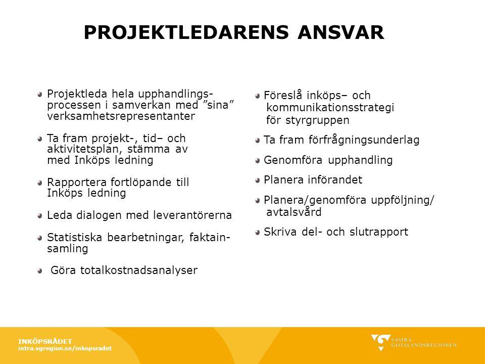 """intra.vgregion.se/inkopsradet Projektleda hela upphandlings- processen i samverkan med """"sina"""" verksamhetsrepresentanter Ta fram projekt-, tid– och akt"""