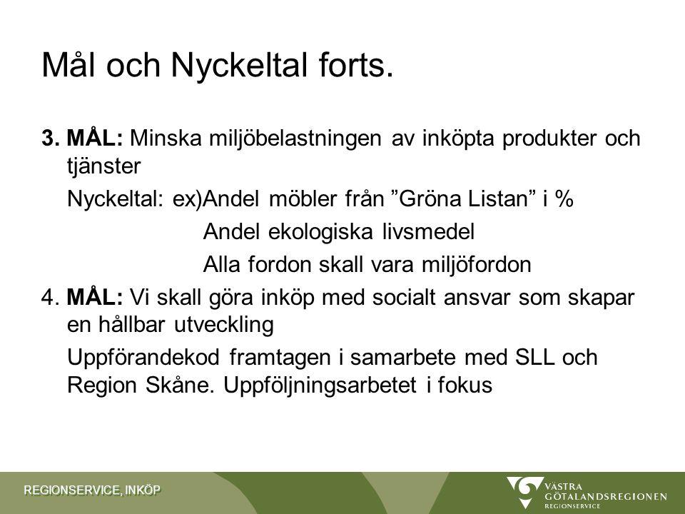 """REGIONSERVICE, INKÖP Mål och Nyckeltal forts. 3. MÅL: Minska miljöbelastningen av inköpta produkter och tjänster Nyckeltal: ex)Andel möbler från """"Grön"""