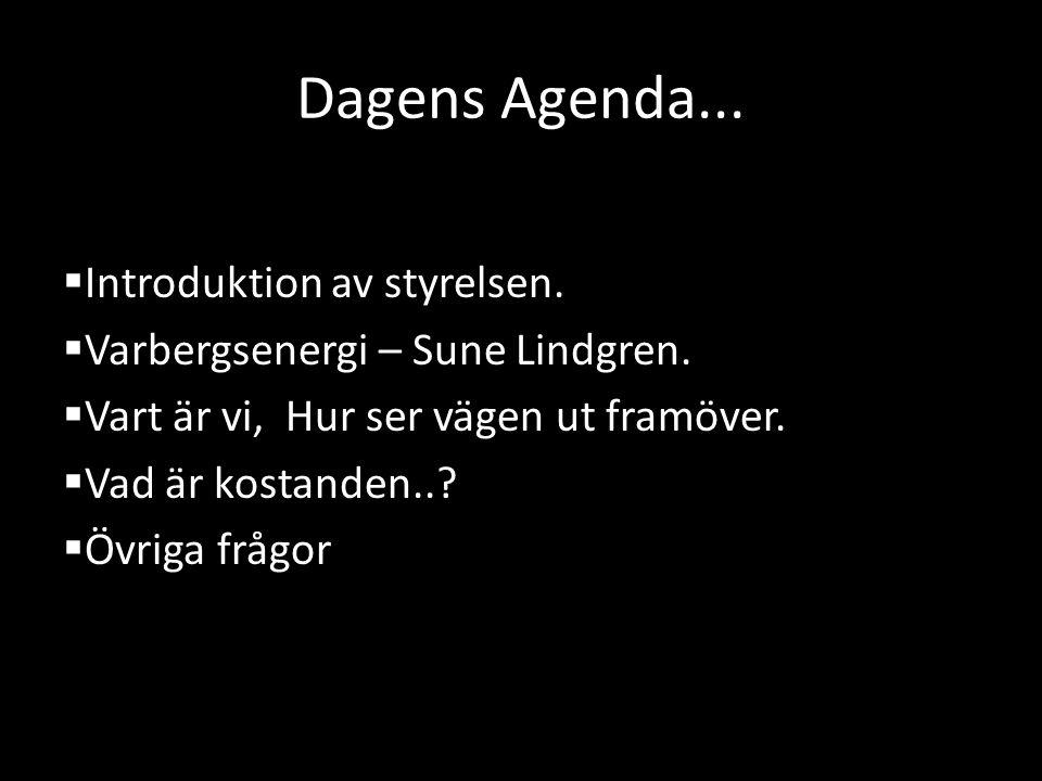 Dagens Agenda...  Introduktion av styrelsen.  Varbergsenergi – Sune Lindgren.  Vart är vi, Hur ser vägen ut framöver.  Vad är kostanden..?  Övrig