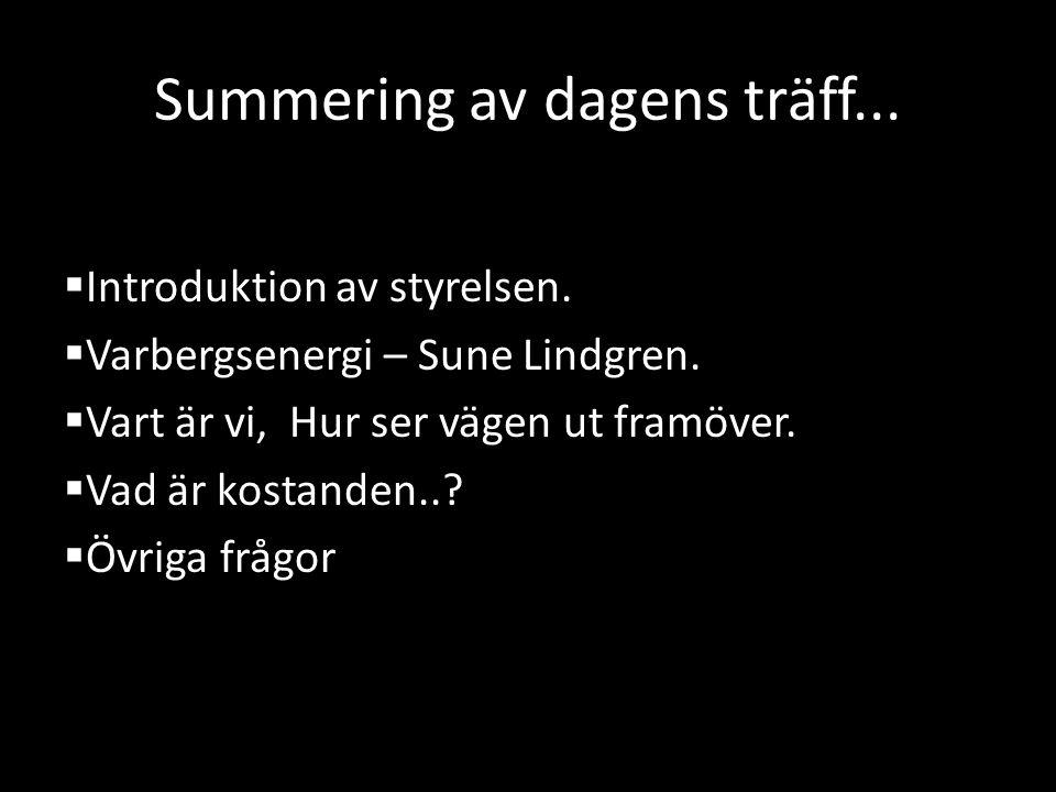 Summering av dagens träff...  Introduktion av styrelsen.  Varbergsenergi – Sune Lindgren.  Vart är vi, Hur ser vägen ut framöver.  Vad är kostande