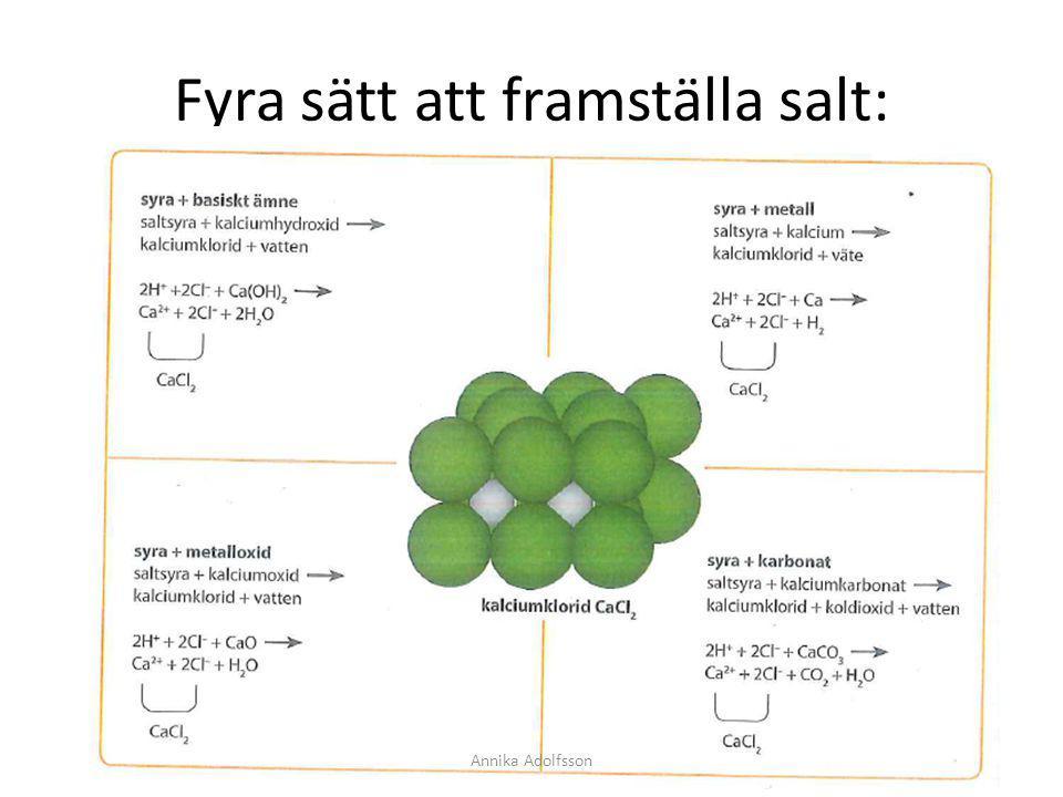 Lättlösliga salter De flesta salter är lättlösliga.