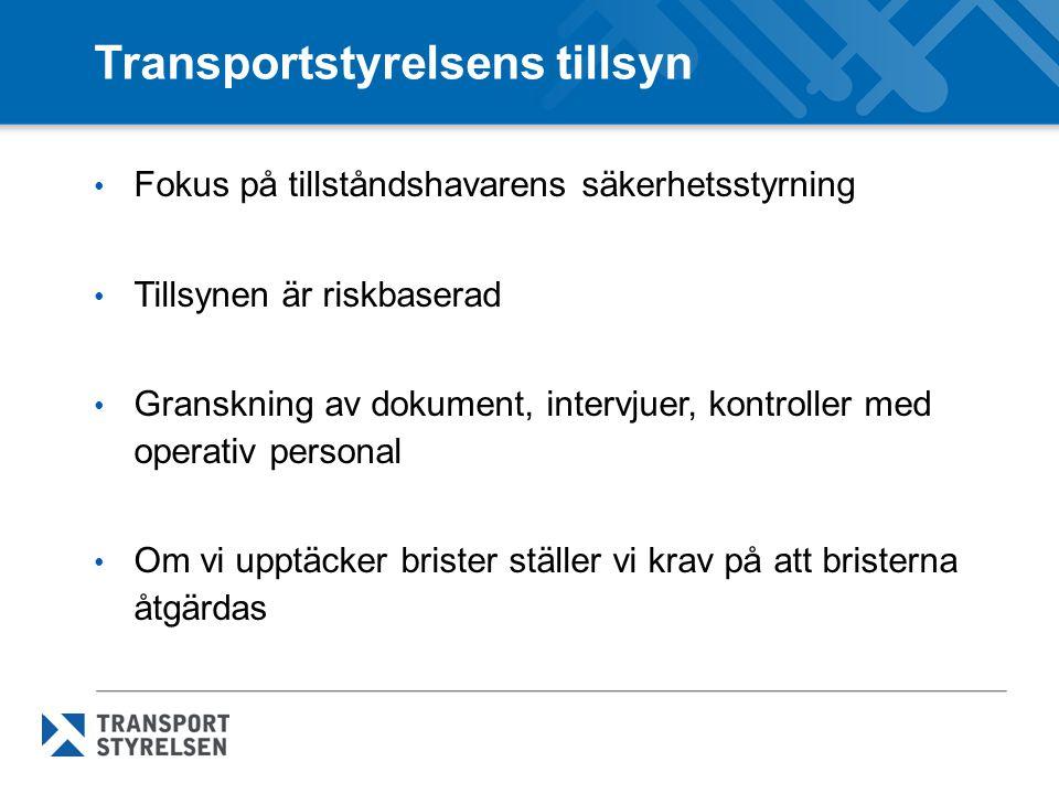 Transportstyrelsens tillsyn Fokus på tillståndshavarens säkerhetsstyrning Tillsynen är riskbaserad Granskning av dokument, intervjuer, kontroller med