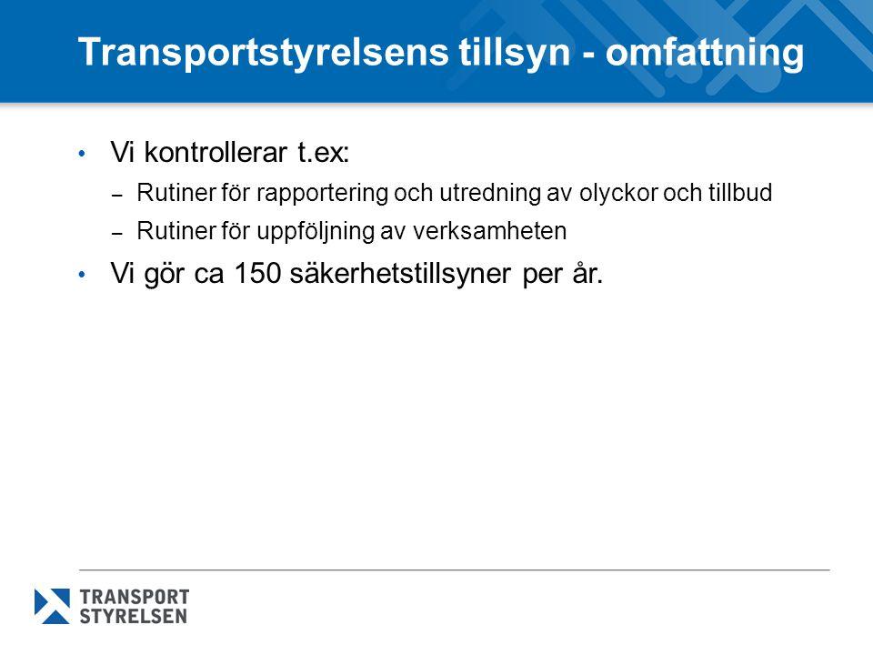 Transportstyrelsens tillsyn - omfattning Vi kontrollerar t.ex: – Rutiner för rapportering och utredning av olyckor och tillbud – Rutiner för uppföljni