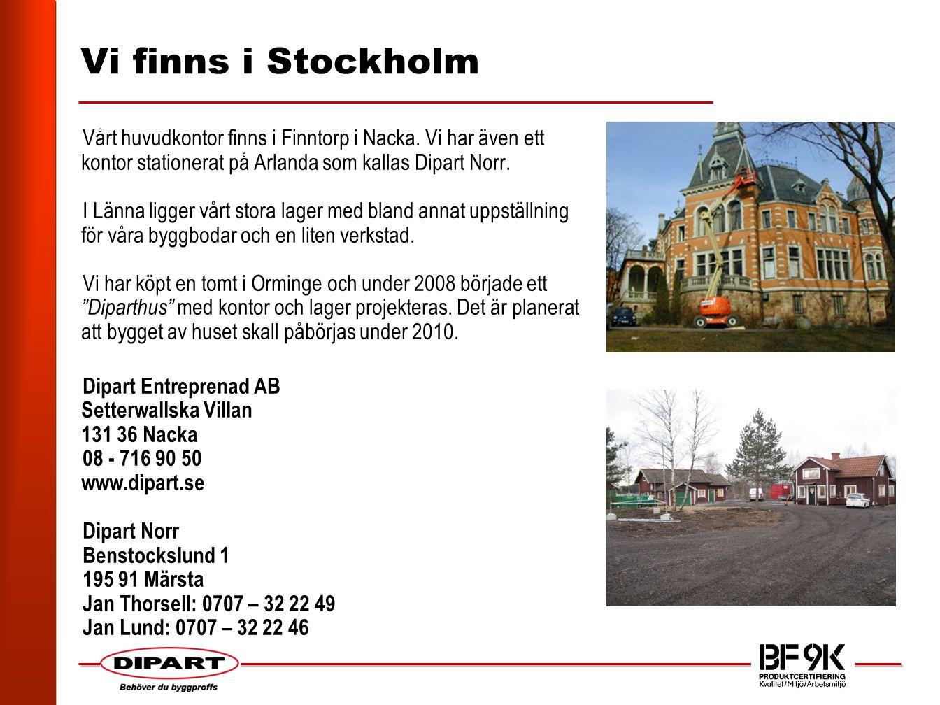 Vi finns i Stockholm Vårt huvudkontor finns i Finntorp i Nacka.