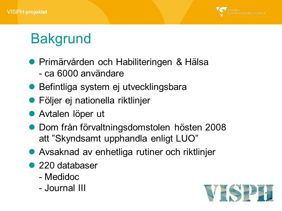 VISPH-projektet Bakgrund Primärvården och Habiliteringen & Hälsa - ca 6000 användare Befintliga system ej utvecklingsbara Följer ej nationella riktlin