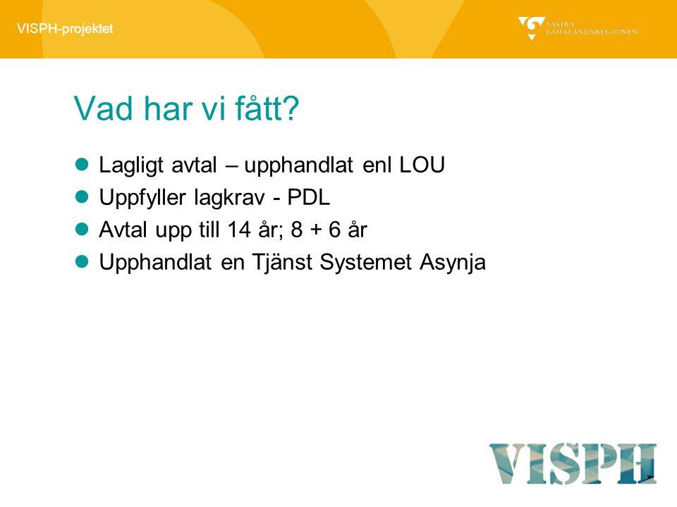 VISPH-projektet Vad har vi fått? Lagligt avtal – upphandlat enl LOU Uppfyller lagkrav - PDL Avtal upp till 14 år; 8 + 6 år Upphandlat en Tjänst System