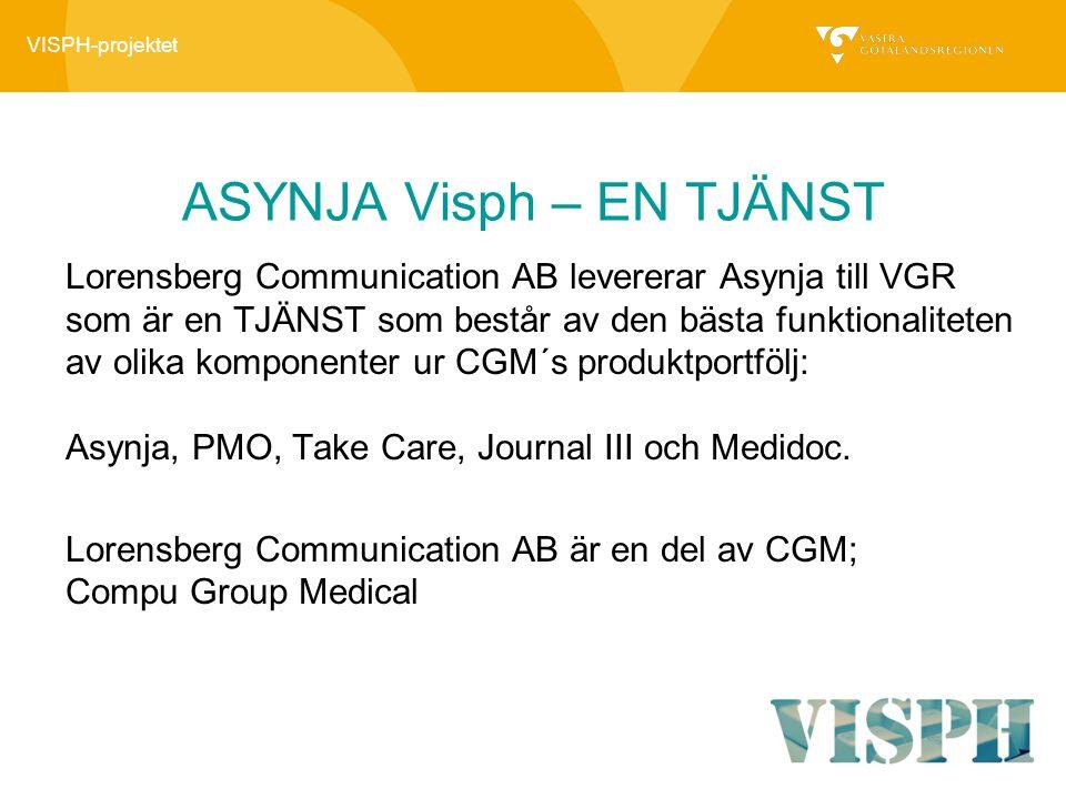 VISPH-projektet ASYNJA Visph – EN TJÄNST Lorensberg Communication AB levererar Asynja till VGR som är en TJÄNST som består av den bästa funktionalitet