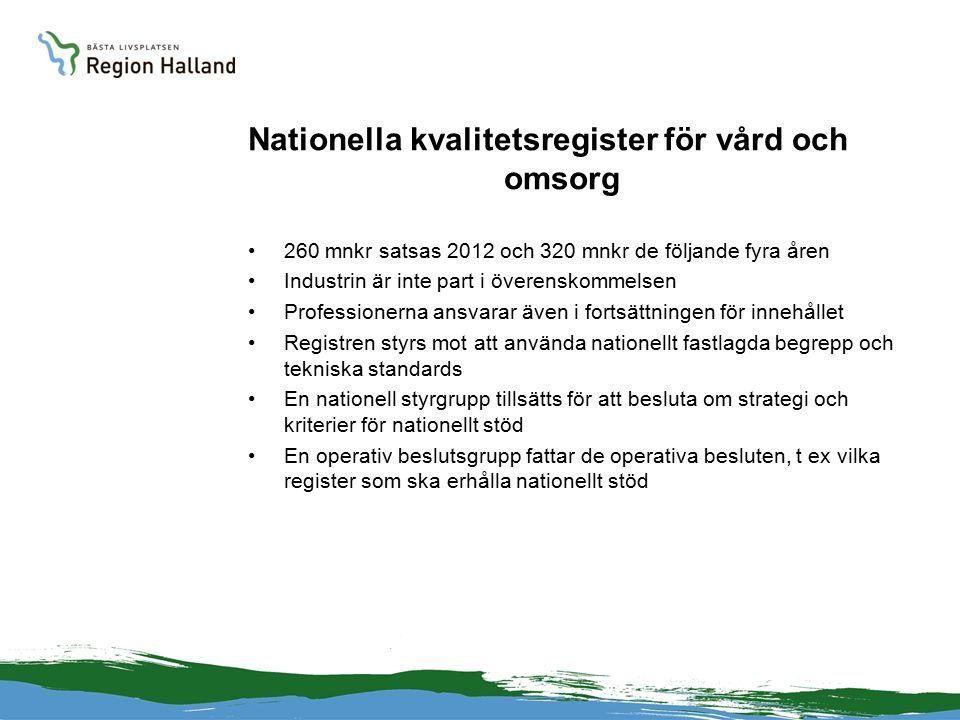 Nationella kvalitetsregister för vård och omsorg 260 mnkr satsas 2012 och 320 mnkr de följande fyra åren Industrin är inte part i överenskommelsen Professionerna ansvarar även i fortsättningen för innehållet Registren styrs mot att använda nationellt fastlagda begrepp och tekniska standards En nationell styrgrupp tillsätts för att besluta om strategi och kriterier för nationellt stöd En operativ beslutsgrupp fattar de operativa besluten, t ex vilka register som ska erhålla nationellt stöd