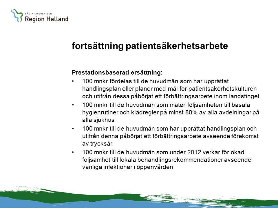 fortsättning patientsäkerhetsarbete Prestationsbaserad ersättning: 100 mnkr fördelas till de huvudmän som har upprättat handlingsplan eller planer med mål för patientsäkerhetskulturen och utifrån dessa påbörjat ett förbättringsarbete inom landstinget.