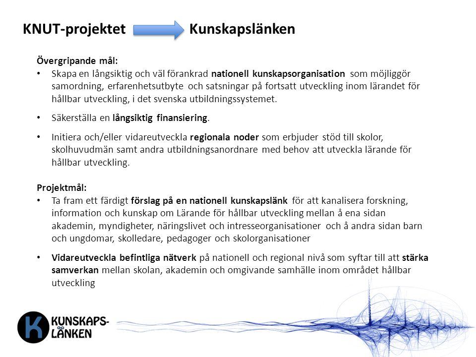 KNUT-projektetKunskapslänken Övergripande mål: Skapa en långsiktig och väl förankrad nationell kunskapsorganisation som möjliggör samordning, erfarenhetsutbyte och satsningar på fortsatt utveckling inom lärandet för hållbar utveckling, i det svenska utbildningssystemet.
