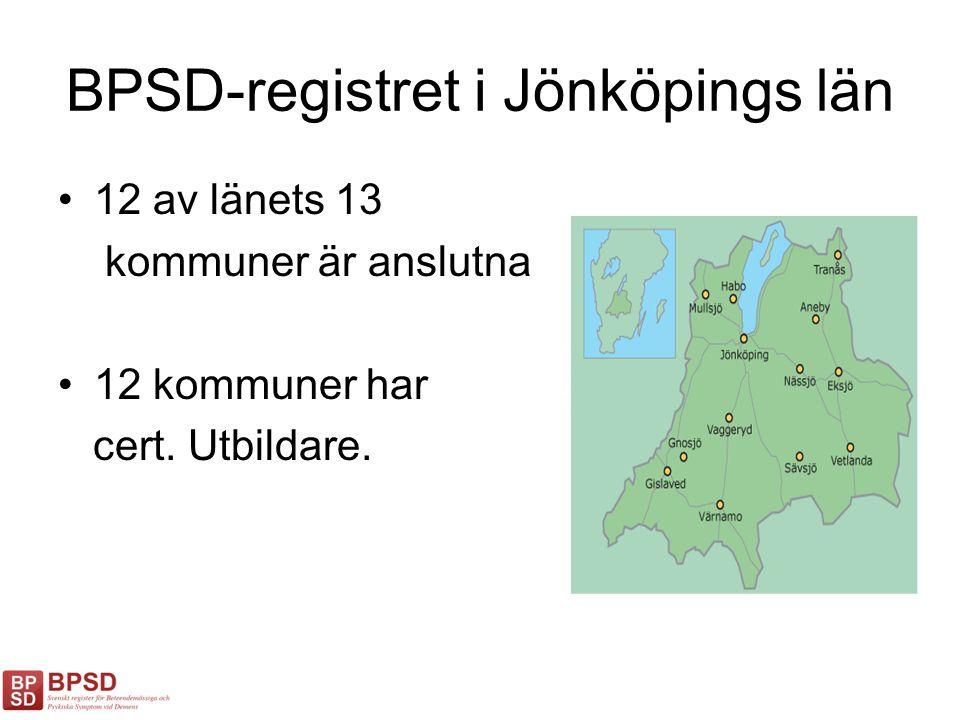 BPSD-registret i Jönköpings län 12 av länets 13 kommuner är anslutna 12 kommuner har cert. Utbildare.