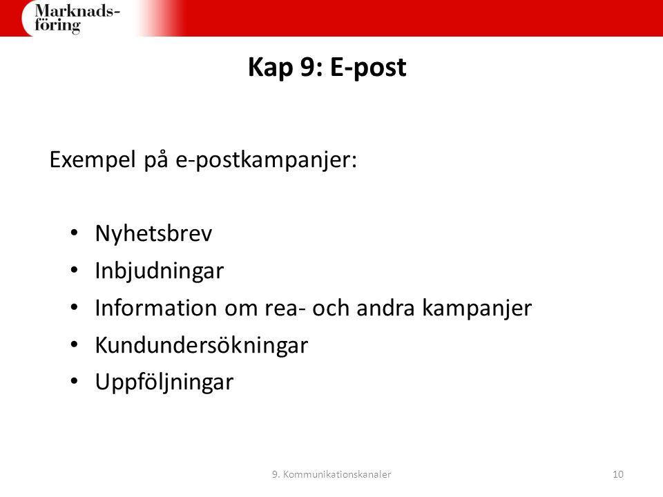 Kap 9: E-post Exempel på e-postkampanjer: Nyhetsbrev Inbjudningar Information om rea- och andra kampanjer Kundundersökningar Uppföljningar 9. Kommunik