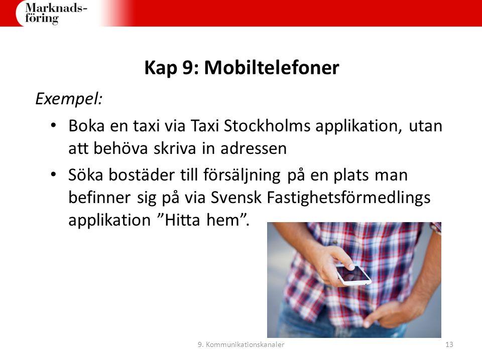 Kap 9: Mobiltelefoner Exempel: Boka en taxi via Taxi Stockholms applikation, utan att behöva skriva in adressen Söka bostäder till försäljning på en p