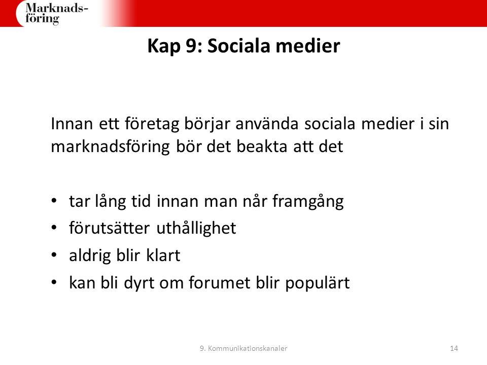 Kap 9: Sociala medier Innan ett företag börjar använda sociala medier i sin marknadsföring bör det beakta att det tar lång tid innan man når framgång