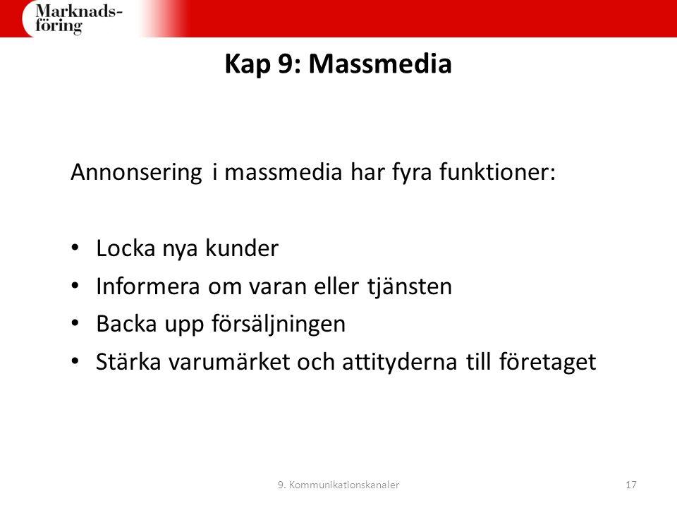 Kap 9: Massmedia Annonsering i massmedia har fyra funktioner: Locka nya kunder Informera om varan eller tjänsten Backa upp försäljningen Stärka varumä