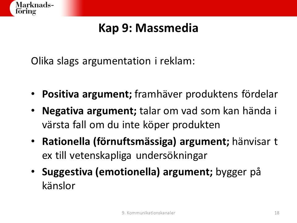 Kap 9: Massmedia Olika slags argumentation i reklam: Positiva argument; framhäver produktens fördelar Negativa argument; talar om vad som kan hända i