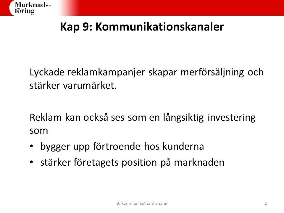 Kap 9: Köpprocessen 1)Identifiera behovet 2)Sök information 3)Värdera alternativen 4)Genomför köpet 5)Utvärdera köpet 9.