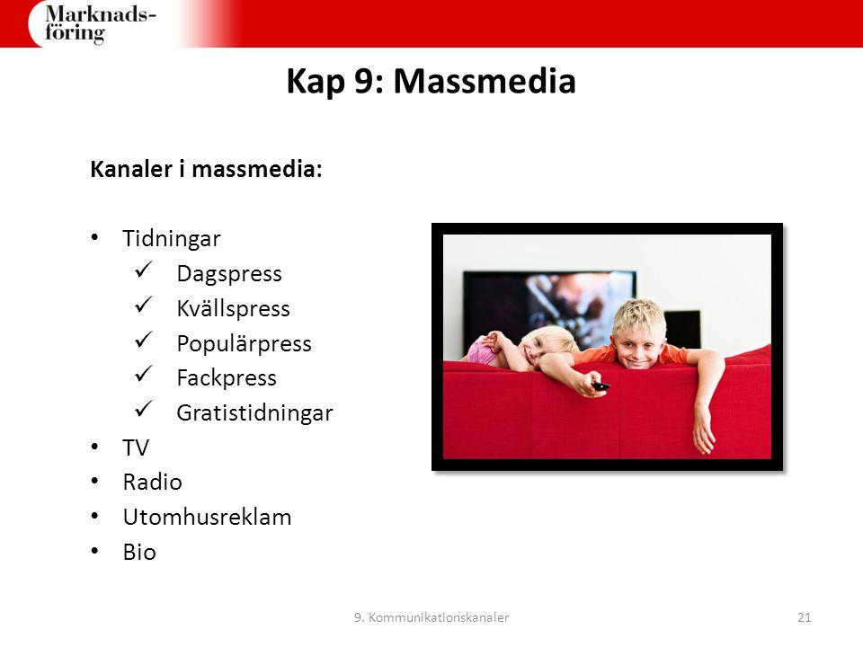 Kap 9: Massmedia Kanaler i massmedia: Tidningar Dagspress Kvällspress Populärpress Fackpress Gratistidningar TV Radio Utomhusreklam Bio 9. Kommunikati