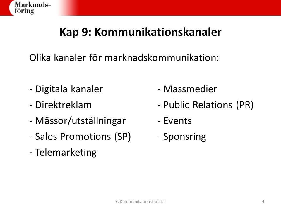 Kap 9: Kommunikationskanaler Olika kanaler för marknadskommunikation: - Digitala kanaler- Massmedier - Direktreklam- Public Relations (PR) - Mässor/ut