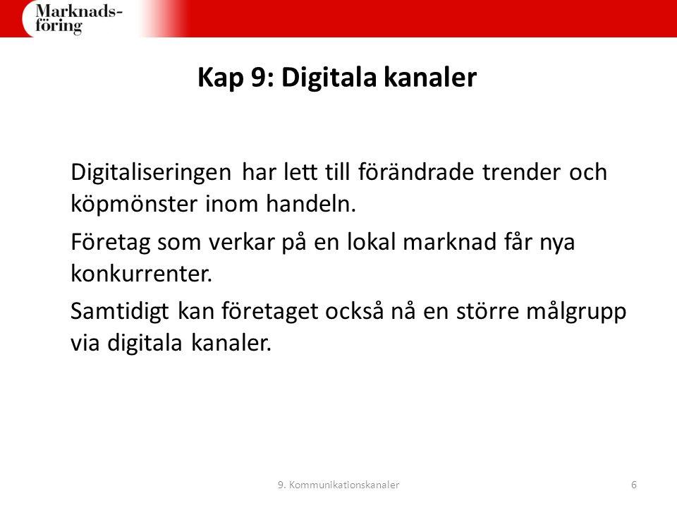 Kap 9: Digitala kanaler Digitaliseringen har lett till förändrade trender och köpmönster inom handeln. Företag som verkar på en lokal marknad får nya