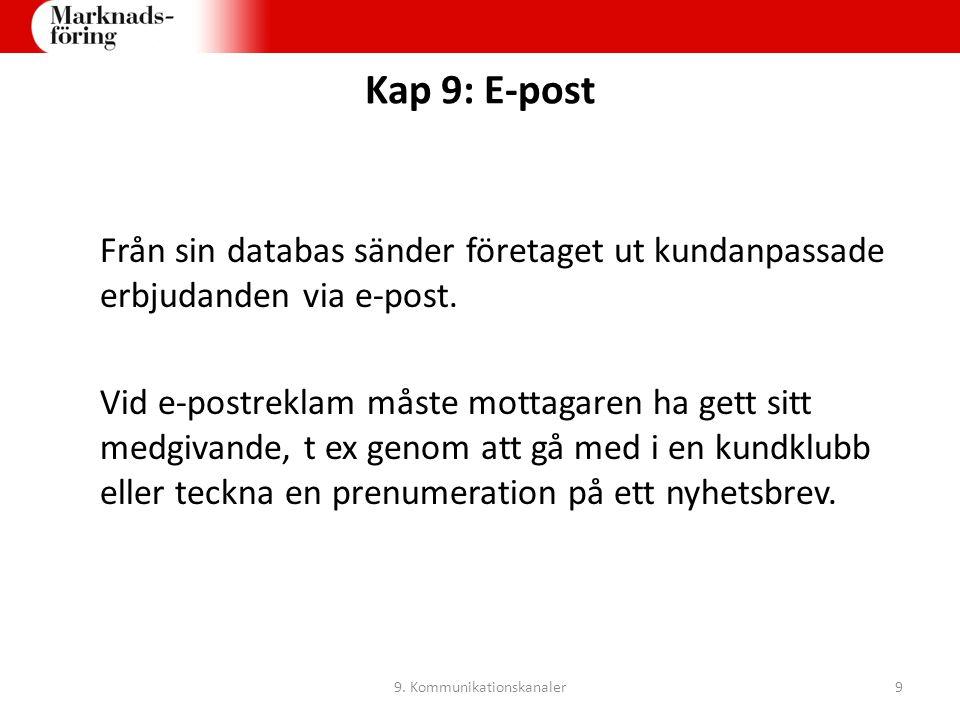 Kap 9: E-post Exempel på e-postkampanjer: Nyhetsbrev Inbjudningar Information om rea- och andra kampanjer Kundundersökningar Uppföljningar 9.