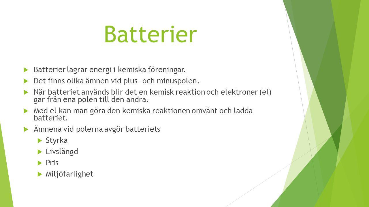 Batterier  Batterier lagrar energi i kemiska föreningar.  Det finns olika ämnen vid plus- och minuspolen.  När batteriet används blir det en kemisk