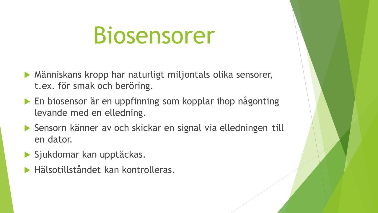 Biosensorer  Människans kropp har naturligt miljontals olika sensorer, t.ex. för smak och beröring.  En biosensor är en uppfinning som kopplar ihop