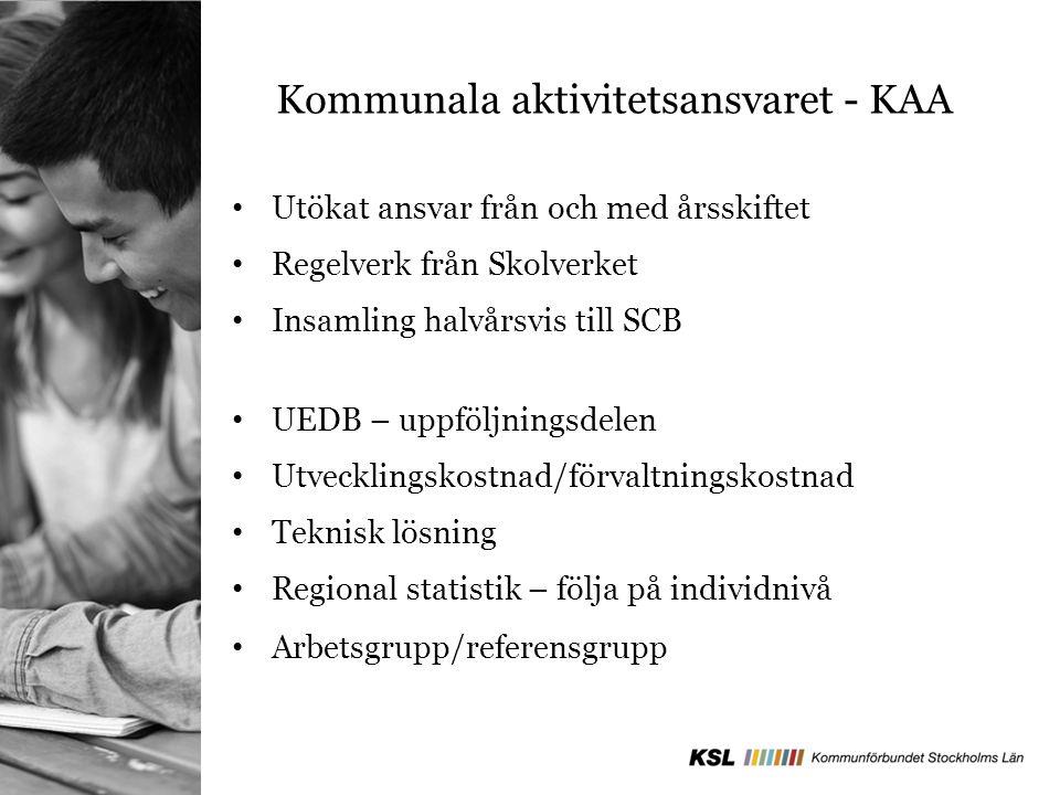 Kommunala aktivitetsansvaret - KAA Utökat ansvar från och med årsskiftet Regelverk från Skolverket Insamling halvårsvis till SCB UEDB – uppföljningsde
