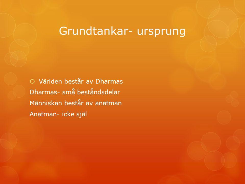 Grundtankar- ursprung  Världen består av Dharmas Dharmas- små beståndsdelar Människan består av anatman Anatman- icke själ