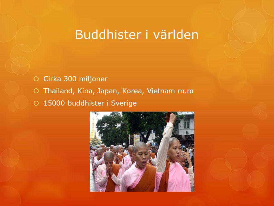 Buddhister i världen  Cirka 300 miljoner  Thailand, Kina, Japan, Korea, Vietnam m.m  15000 buddhister i Sverige